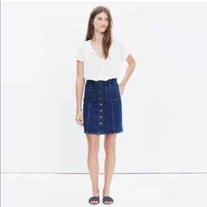 Madewell Blue Denim Button-Front A-Line Skirt